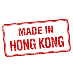 Made in hong kong red square isolated stamp vector