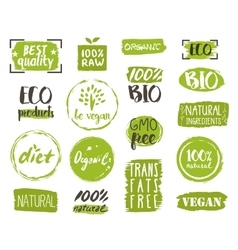 Organic food tags elements and logo vector