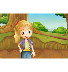 A teenager at the forest vector image vector image