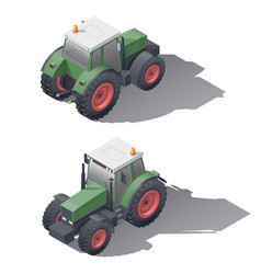 agricultural tractors isometric icon set vector image vector image