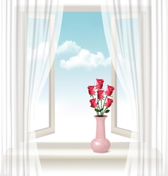 Background with an open window and a vase with vector image