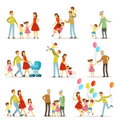 big happy family with mother father grandmother vector image vector image