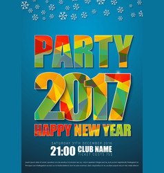 Blue poster design for new years party in 2017 vector