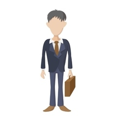 Businessman holding briefcase icon cartoon style vector image