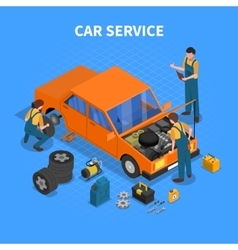 Car Service Work Process Isometric vector image vector image