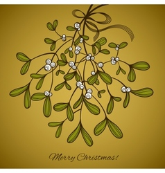 Card with mistletoe vector