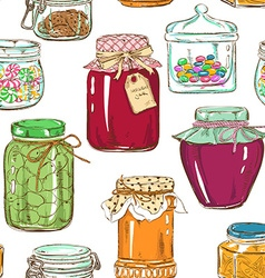 Colorful seamless pattern of mason jars vector