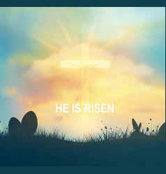 easter background with jesus and cross vector image