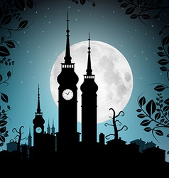Full Moon with Town Silhouette - Houses and vector image