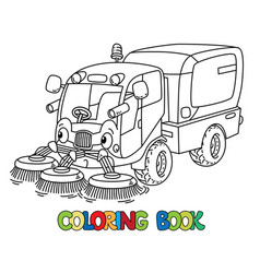 Funny small sweeper car with eyes vector