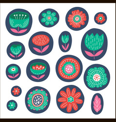 graphic colored flowers vector image vector image