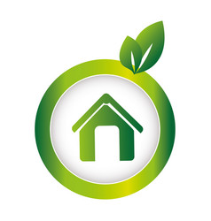 Green circular emblem with eco home vector