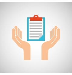 Hands clipboard checklist report icon vector