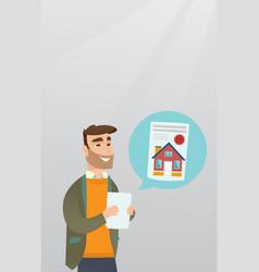 Man reading real estate advertisement vector