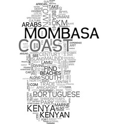Mombasa the kenyan coast where the sun is ever vector