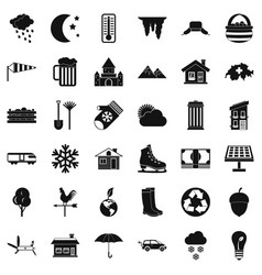 Nature house icons set simple style vector