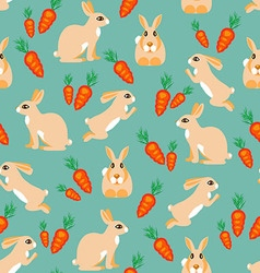 Pattern rabbit jumps sits lies and red carrots vector