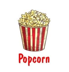Popcorn bucket sketch for fast food design vector image