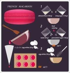 Recipe classic French macaroon vector image vector image
