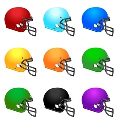 Set of colour footbal helmets vector image
