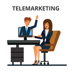 Telemarketing online sales business conference vector