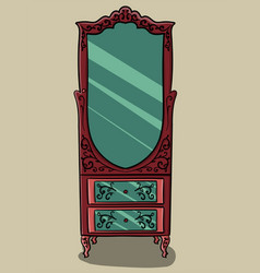 the red cabinet with pink details and with a vector image vector image