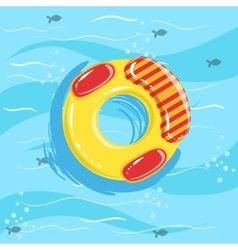 Toy inflatable ring with blue sea water on vector