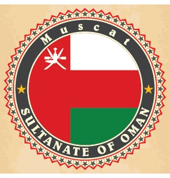 Vintage label cards of oman flag vector