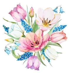Watercolor spring flowers vector image vector image