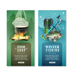 Winter fishing 2 vertical banners set vector