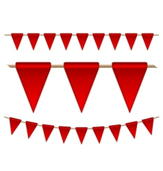 Festive red flags on white background vector