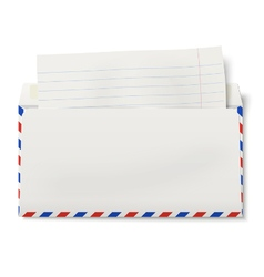 View of backside of opened dl air mail envelope vector