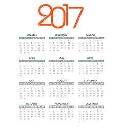 2017 calendar template 2017 year planner vector image