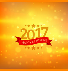 Happy new year 2017 wishes greeting with bokeh vector