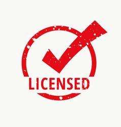 licensed red stamp vector image