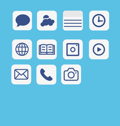Icons application set multimedia icon set on blue vector