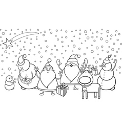 Christmas characters coloring page vector