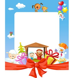 Christmas frame - nativity with jesus maria and vector