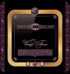 Vintage golden and pink frame vector