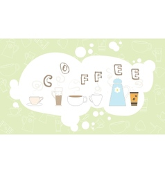 Coffee pattern drink breakfast kitchen cup bubble vector