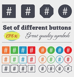 Hash tag icon big set of colorful diverse vector