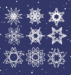 Snowflake set christmas and new year concept vector