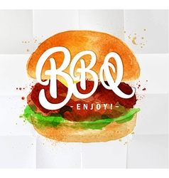 Burger bbq watercolor vector