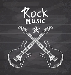 Rock music hand drawn sketch crossed guitars on vector