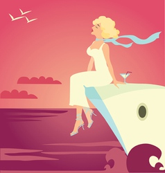 Girl on the cruise ship vector