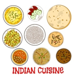 Indian vegetarian thali sketch with various curry vector