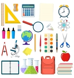 School and education workplace items vector