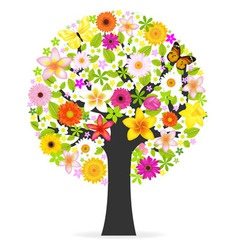 Abstract flowers tree vector