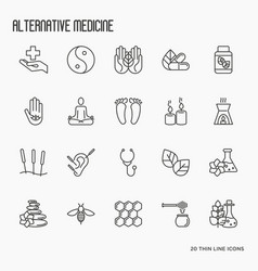 alternative medicine thin line icon set vector image
