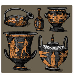 Ancient greece antique amphora set vase with vector